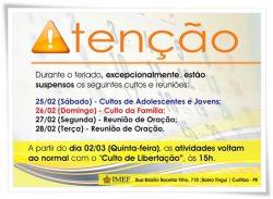 IMEF suspende atividades durante o feriado