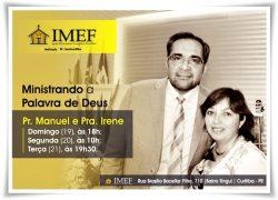 Pr. Manuel e Pra, Irene ministram na IMEF Curitiba neste domingo (19)