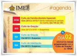 IMEF Curitiba divulga programação dos cultos para o período de férias