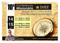 10ª Conferência Missionária será realizada nos dias 14 e 15 de abril