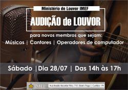 """IMEF PROMOVE """"AUDIÇÃO DE LOUVOR"""""""