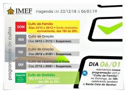 Confira como ficou a programação de cultos na IMEF Curitiba entre os feriados de Natal e Ano Novo