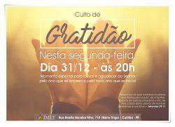 CULTO DE GRATIDÃO SERÁ REALIZADO NESTA SEGUNDA (31)