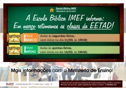 MINISTÉRIO DE ENSINO RETOMA AULAS DA EETAD NA IMEF